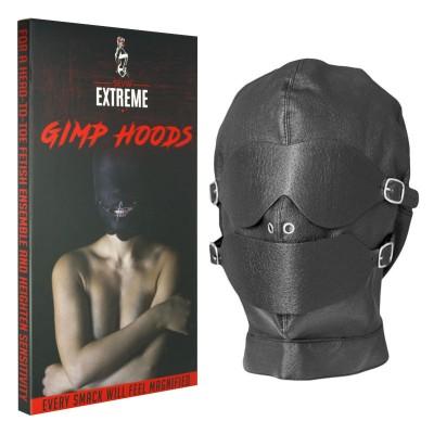 Fetish Black Hood Full Mask Eyes Mouth Detachable W/ Gag Ball Unisex