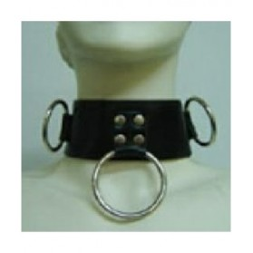 Leather Collar with ring, padlock & key