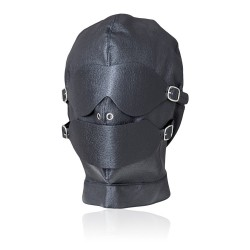 Fetish Black Hood Full Mask Eyes Mouth Detachable w/ gag ball UNISEX