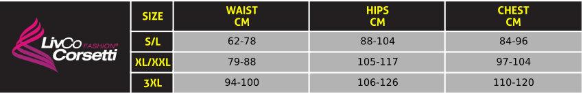 Livia Corsetti Bodystockings Lingerie Size Guide